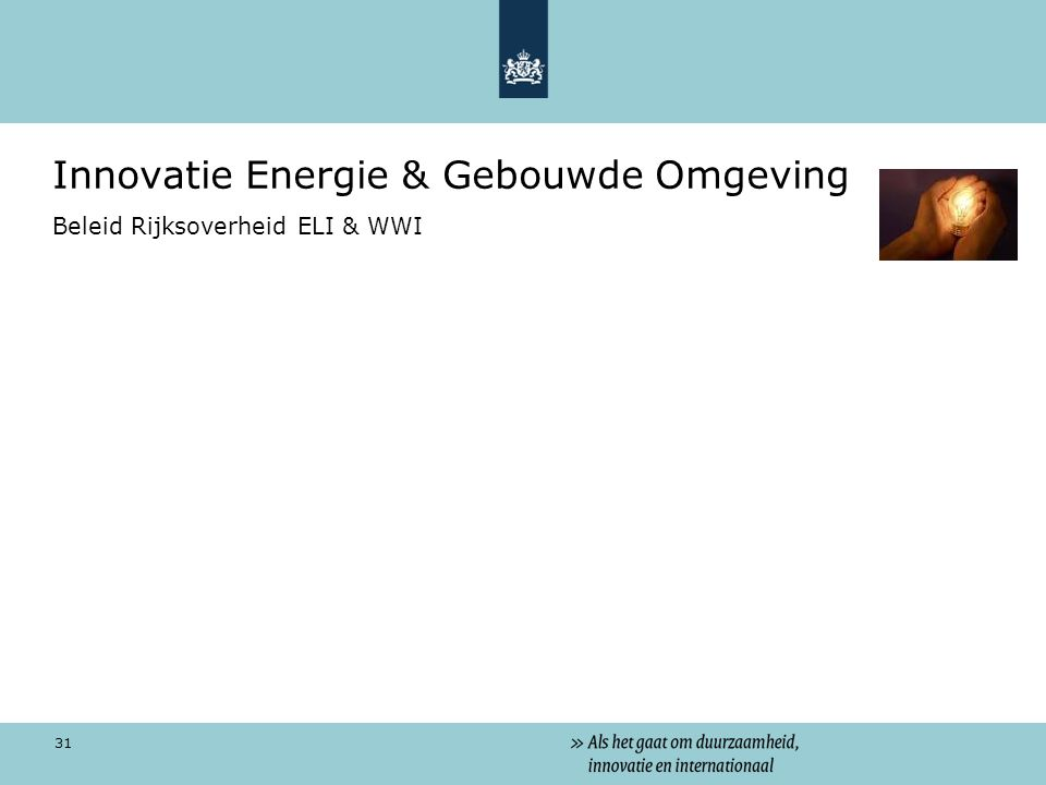 31 Innovatie Energie & Gebouwde Omgeving Beleid Rijksoverheid ELI & WWI