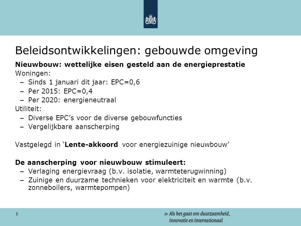 5 Beleidsontwikkelingen: gebouwde omgeving Nieuwbouw: wettelijke eisen gesteld aan de energieprestatie Woningen: – Sinds 1 januari dit jaar: EPC=0,6 – Per 2015: EPC=0,4 – Per 2020: energieneutraal Utiliteit: – Diverse EPC's voor de diverse gebouwfuncties – Vergelijkbare aanscherping Vastgelegd in 'Lente-akkoord voor energiezuinige nieuwbouw' De aanscherping voor nieuwbouw stimuleert: – Verlaging energievraag (b.v.
