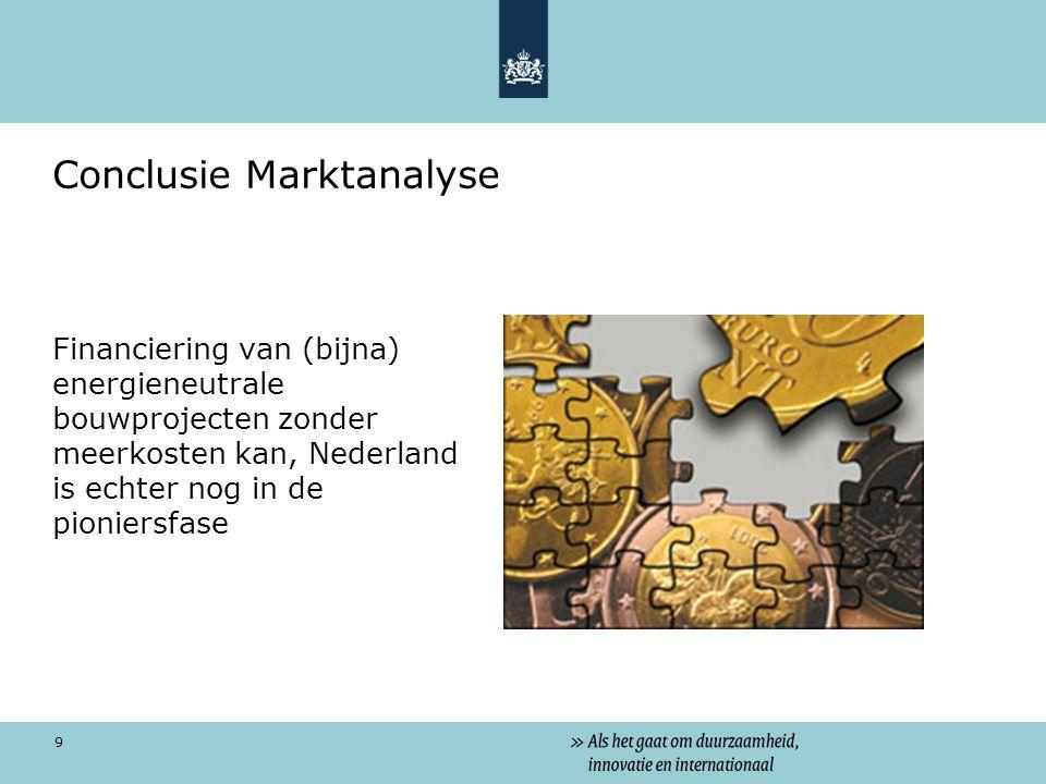 9 Conclusie Marktanalyse Financiering van (bijna) energieneutrale bouwprojecten zonder meerkosten kan, Nederland is echter nog in de pioniersfase