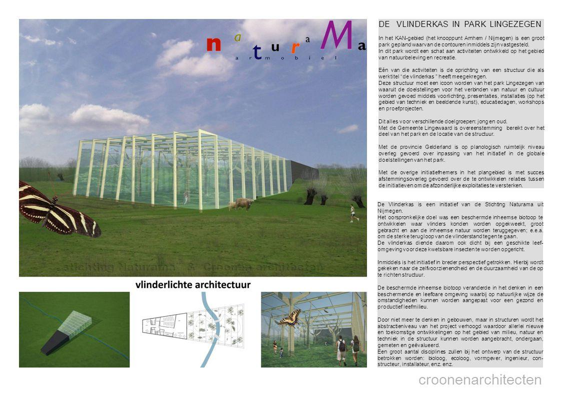 croonenarchitecten DE VLINDERKAS IN PARK LINGEZEGEN In het KAN-gebied (het knooppunt Arnhem / Nijmegen) is een groot park gepland waarvan de contouren inmiddels zijn vastgesteld.