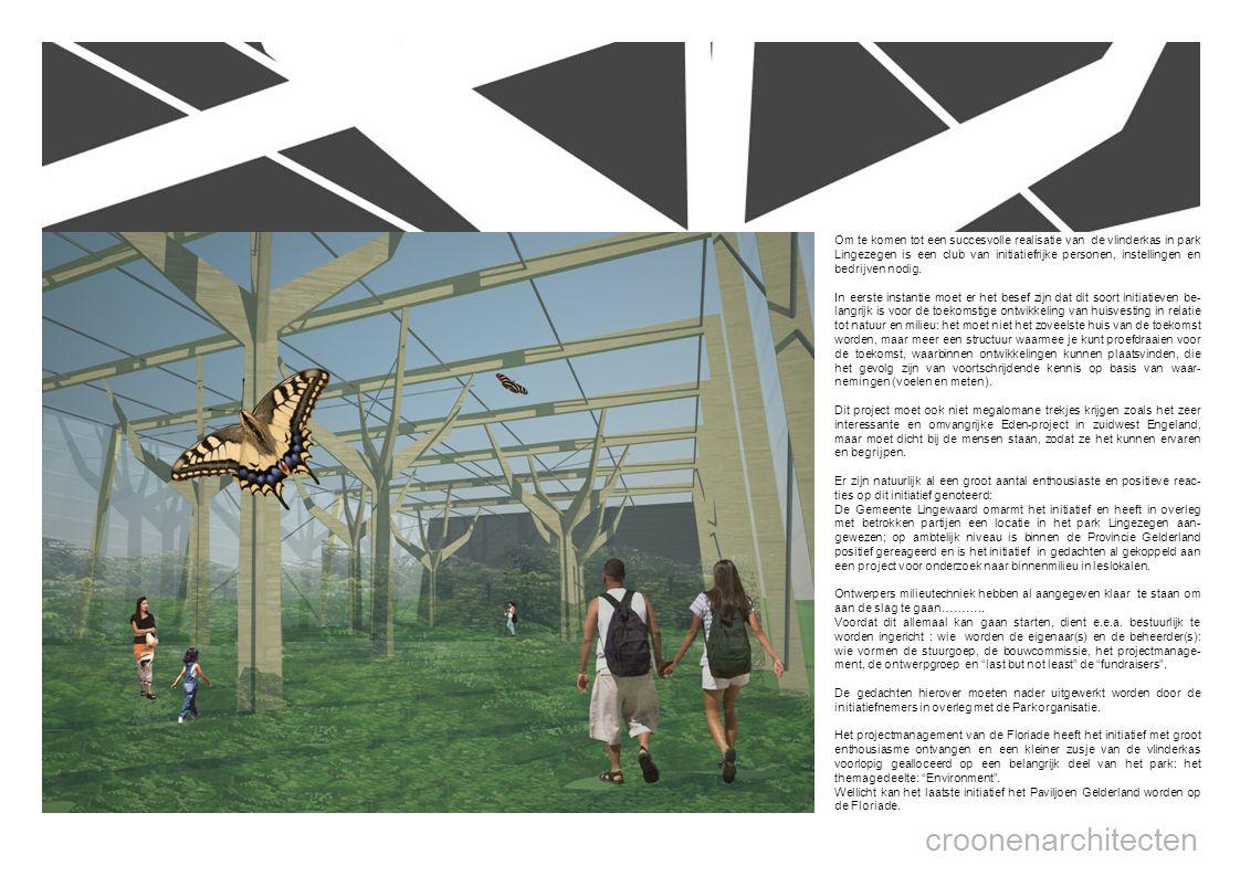 croonenarchitecten Om te komen tot een succesvolle realisatie van de vlinderkas in park Lingezegen is een club van initiatiefrijke personen, instellingen en bedrijven nodig.