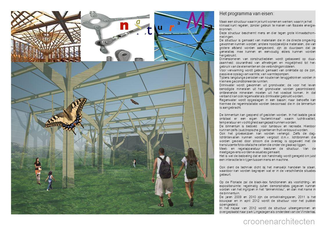 croonenarchitecten Het programma van eisen: Maak een structuur waarin je kunt wonen en werken; waarin je het klimaat kunt regelen, zonder gebruik te maken van fossiele energie- bronnen.