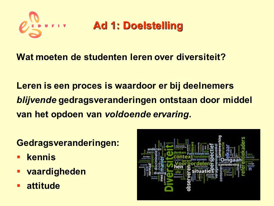 Ad 1: Doelstelling Wat moeten de studenten leren over diversiteit? Leren is een proces is waardoor er bij deelnemers blijvende gedragsveranderingen on