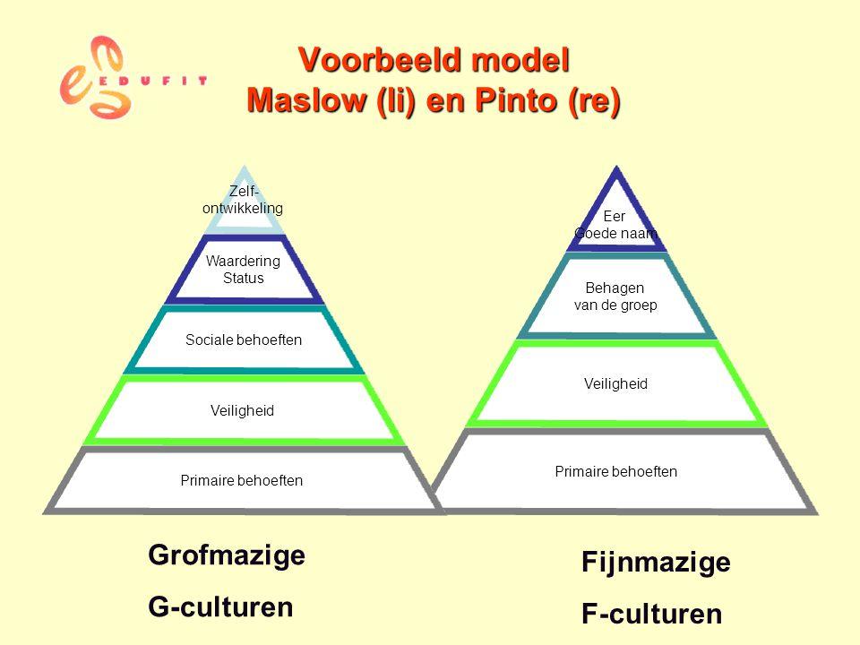 Eer Goede naam Behagen van de groep Veiligheid Primaire behoeften Voorbeeld model Maslow (li) en Pinto (re) Grofmazige G-culturen Fijnmazige F-culture