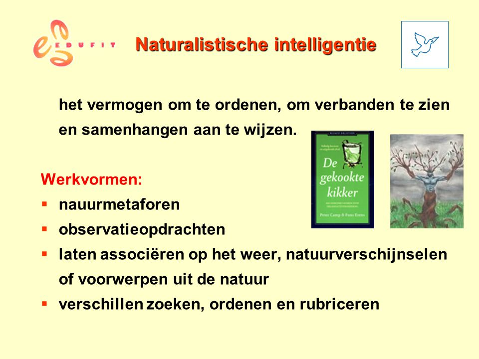 Naturalistische intelligentie het vermogen om te ordenen, om verbanden te zien en samenhangen aan te wijzen. Werkvormen:  nauurmetaforen  observatie