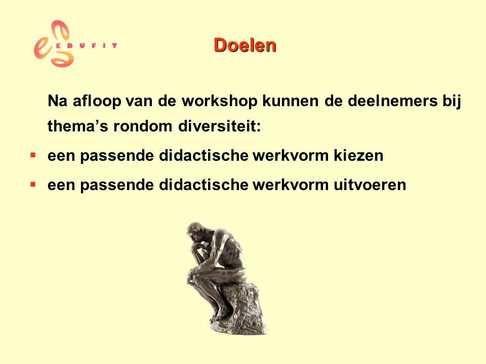 Doelen Na afloop van de workshop kunnen de deelnemers bij thema's rondom diversiteit:  een passende didactische werkvorm kiezen  een passende didact