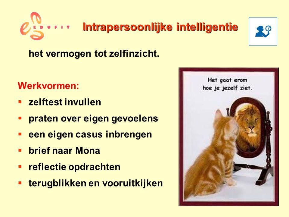 Intrapersoonlijke intelligentie het vermogen tot zelfinzicht. Werkvormen:  zelftest invullen  praten over eigen gevoelens  een eigen casus inbrenge