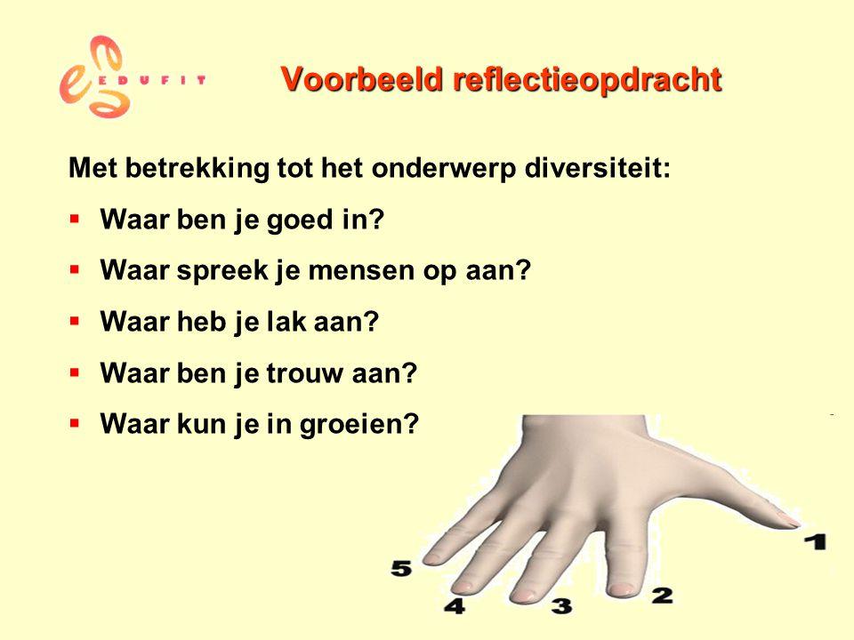 Voorbeeld reflectieopdracht Met betrekking tot het onderwerp diversiteit:  Waar ben je goed in?  Waar spreek je mensen op aan?  Waar heb je lak aan