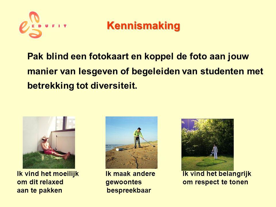 Kennismaking Pak blind een fotokaart en koppel de foto aan jouw manier van lesgeven of begeleiden van studenten met betrekking tot diversiteit. Ik vin