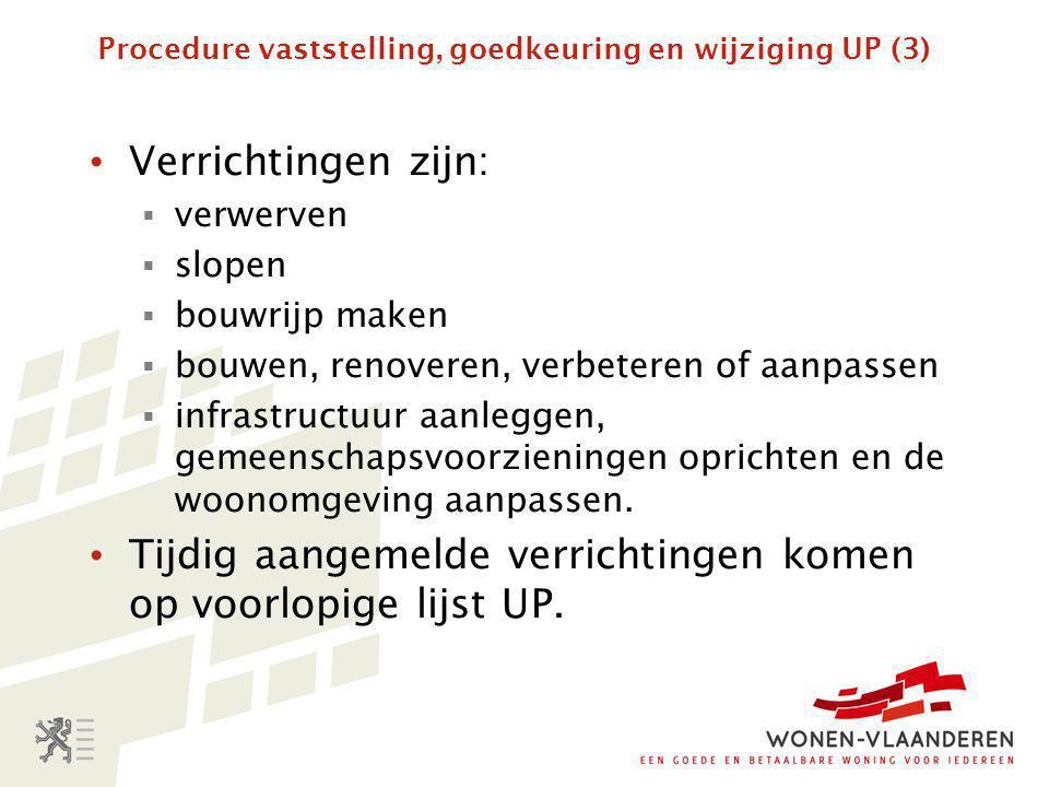 Procedure vaststelling, goedkeuring en wijziging UP (4) • VMSW stelt op basis van advies Wonen- Vlaanderen (betreffende woonoverleg en kennis gemeenten) en van departement (consistentie IP) een ontwerp-UP op.