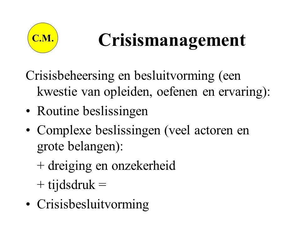 Crisisbeheersing en besluitvorming (een kwestie van opleiden, oefenen en ervaring): •Routine beslissingen •Complexe beslissingen (veel actoren en grote belangen): + dreiging en onzekerheid + tijdsdruk = •Crisisbesluitvorming C.M.