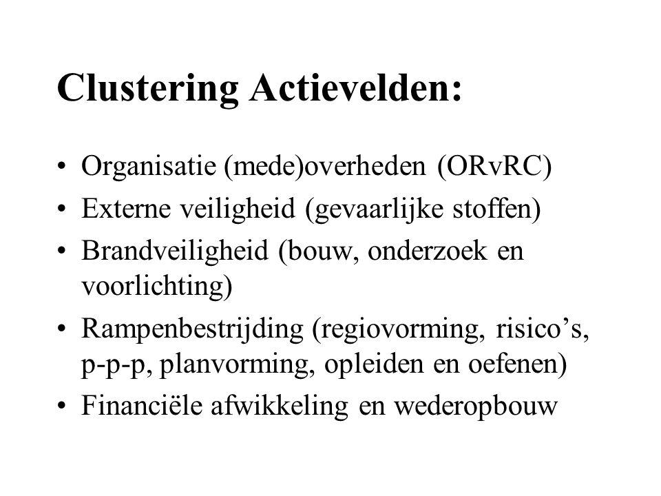 Clustering Actievelden: •Organisatie (mede)overheden (ORvRC) •Externe veiligheid (gevaarlijke stoffen) •Brandveiligheid (bouw, onderzoek en voorlichting) •Rampenbestrijding (regiovorming, risico's, p-p-p, planvorming, opleiden en oefenen) •Financiële afwikkeling en wederopbouw
