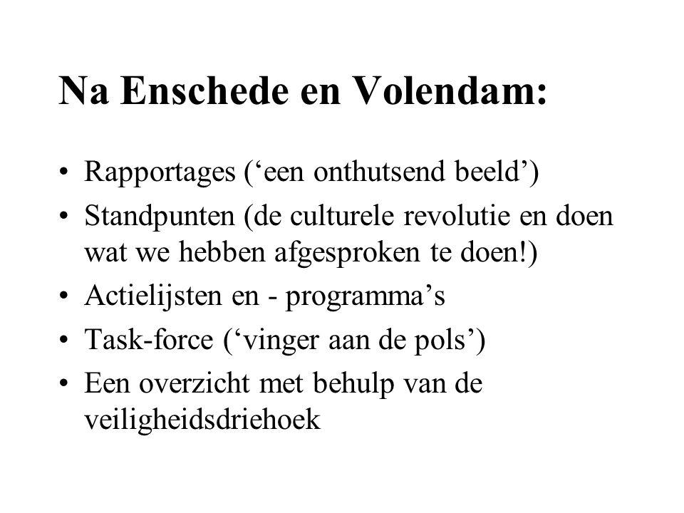 Na Enschede en Volendam: •Rapportages ('een onthutsend beeld') •Standpunten (de culturele revolutie en doen wat we hebben afgesproken te doen!) •Actielijsten en - programma's •Task-force ('vinger aan de pols') •Een overzicht met behulp van de veiligheidsdriehoek