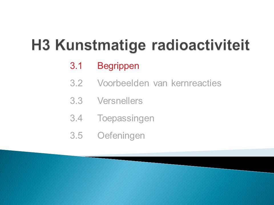 3.1 Begrippen 3.2 Voorbeelden van kernreacties 3.3 Versnellers 3.4 Toepassingen 3.5Oefeningen