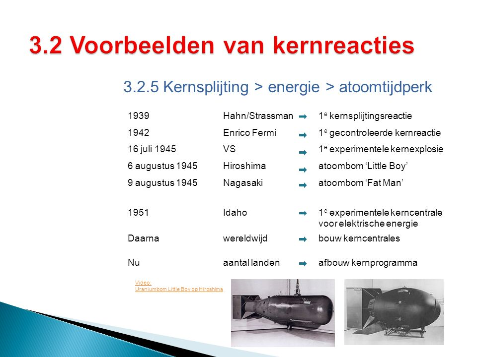 3.2.5 Kernsplijting > energie > atoomtijdperk 1939Hahn/Strassman 1 e kernsplijtingsreactie 1942Enrico Fermi1 e gecontroleerde kernreactie 16 juli 1945