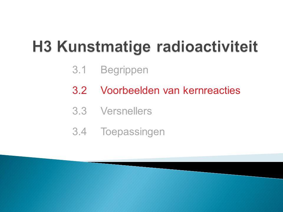 3.2.1 Ontdekking proton 3.2.2 Ontdekking neutron 3.2.3 Eerste kunstmatige radionuclide 3.2.4 Transuranen 3.2.5 Kernsplijting 3.2.6 Kernfusie