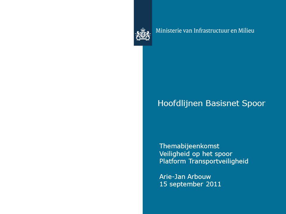 Hoofdlijnen Basisnet Spoor Themabijeenkomst Veiligheid op het spoor Platform Transportveiligheid Arie-Jan Arbouw 15 september 2011