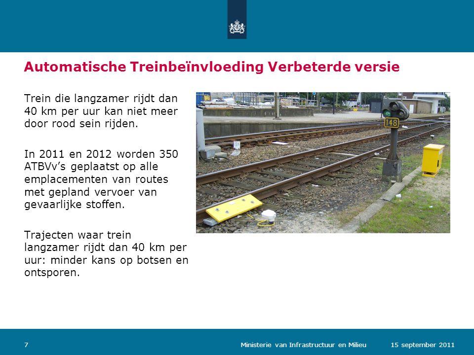 Ministerie van Verkeer en Waterstaat Automatische Treinbeïnvloeding Verbeterde versie Trein die langzamer rijdt dan 40 km per uur kan niet meer door rood sein rijden.