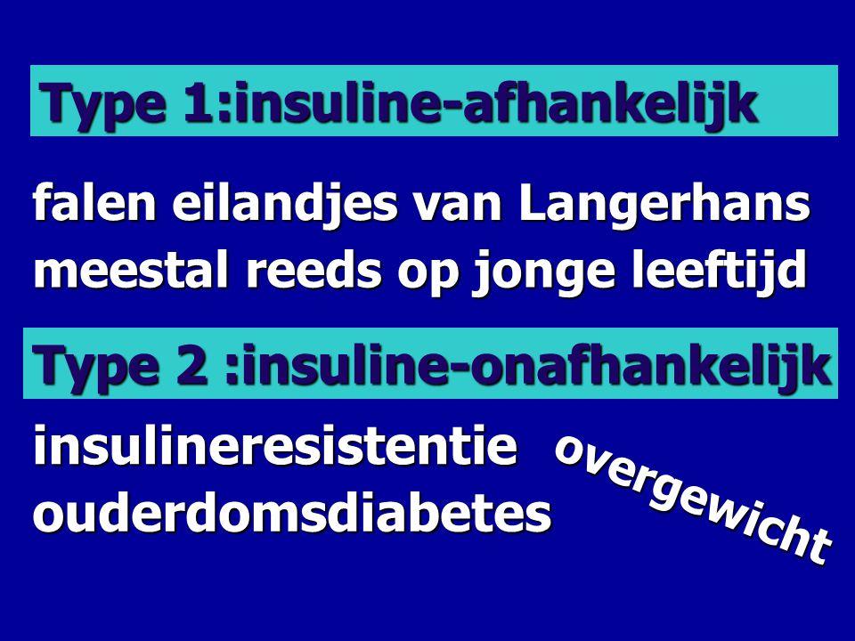 Type 1:insuline-afhankelijk Type 2 :insuline-onafhankelijk falen eilandjes van Langerhans meestal reeds op jonge leeftijd insulineresistentie ouderdom