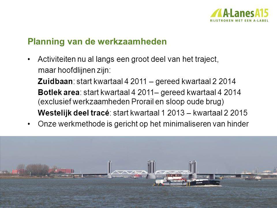 Planning van de werkzaamheden •Activiteiten nu al langs een groot deel van het traject, maar hoofdlijnen zijn: Zuidbaan: start kwartaal 4 2011 – geree