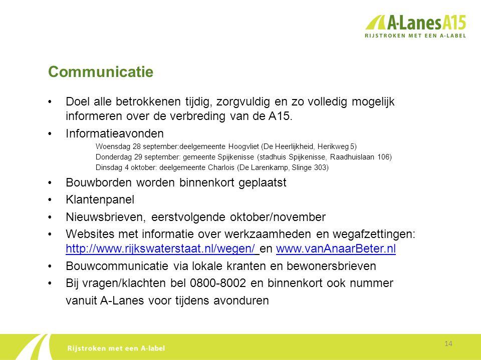 Communicatie 14 •Doel alle betrokkenen tijdig, zorgvuldig en zo volledig mogelijk informeren over de verbreding van de A15. •Informatieavonden Woensda