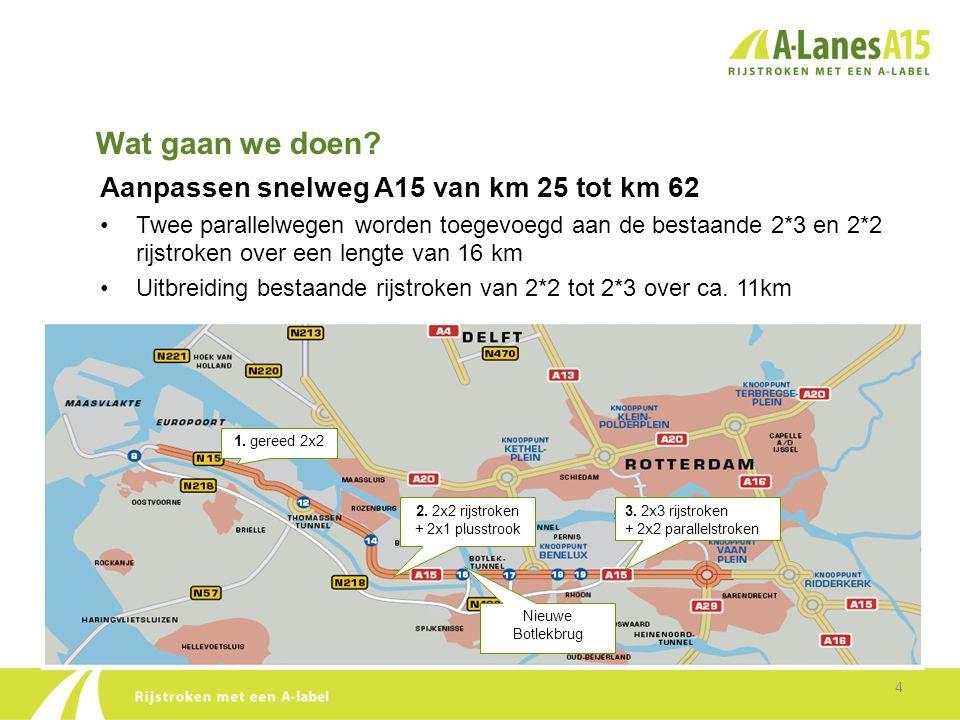 Wat gaan we doen? Aanpassen snelweg A15 van km 25 tot km 62 •Twee parallelwegen worden toegevoegd aan de bestaande 2*3 en 2*2 rijstroken over een leng