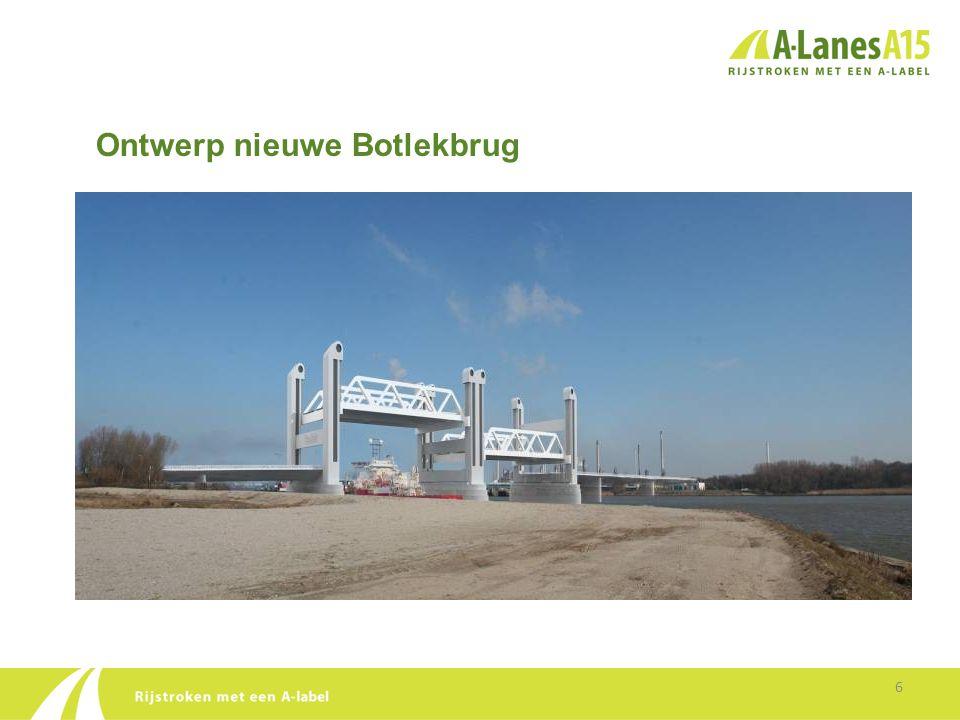 Ontwerp Botlekbrug •Capaciteit Botlekbrug (met behoud van de spoorlijn) gaat van 2 naar 5 rijstroken: - 2 x 2 rijstroken voor snelverkeer - 1 rijstrook voor langzaam lokaal bestemmingsverkeer (beide richtingen) •Brug wordt 7 meter hoger, waardoor hij minder vaak open hoeft voor het scheepvaartverkeer •Doorvaartbreedte voor scheepvaart wordt groter 7
