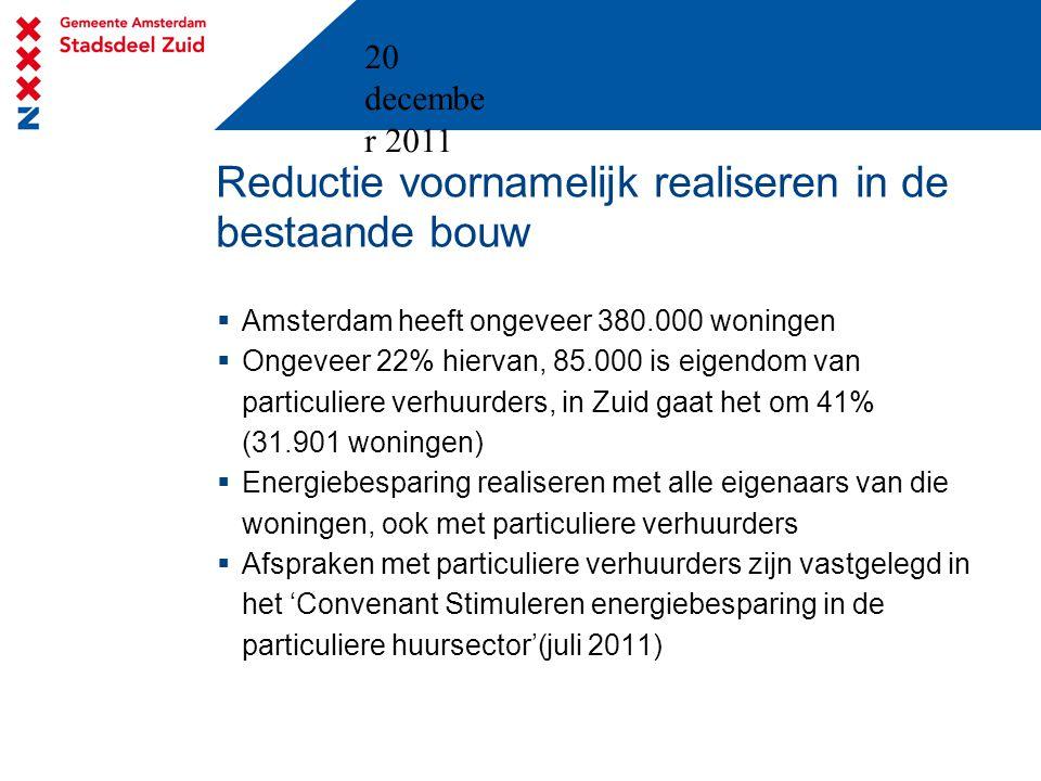 20 decembe r 2011 Reductie voornamelijk realiseren in de bestaande bouw  Amsterdam heeft ongeveer 380.000 woningen  Ongeveer 22% hiervan, 85.000 is eigendom van particuliere verhuurders, in Zuid gaat het om 41% (31.901 woningen)  Energiebesparing realiseren met alle eigenaars van die woningen, ook met particuliere verhuurders  Afspraken met particuliere verhuurders zijn vastgelegd in het 'Convenant Stimuleren energiebesparing in de particuliere huursector'(juli 2011)
