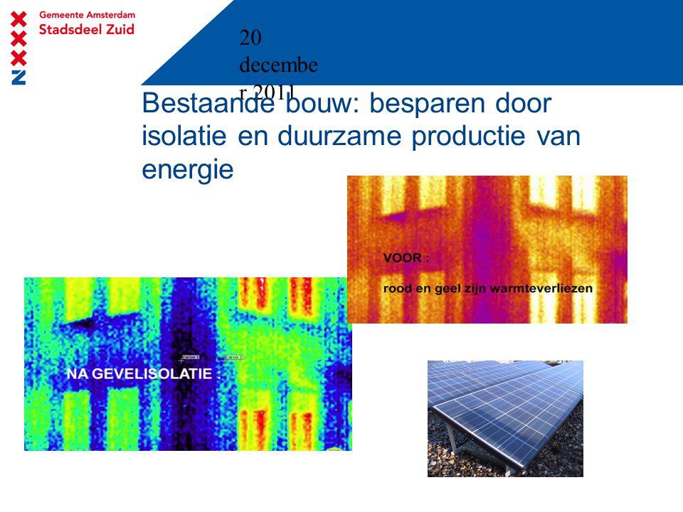20 decembe r 2011 Bestaande bouw: besparen door isolatie en duurzame productie van energie
