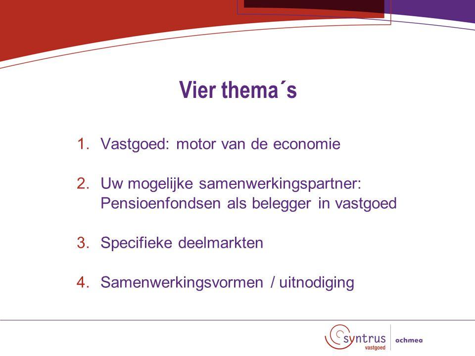 Vier thema´s 1.Vastgoed: motor van de economie 2.Uw mogelijke samenwerkingspartner: Pensioenfondsen als belegger in vastgoed 3.Specifieke deelmarkten 4.Samenwerkingsvormen / uitnodiging