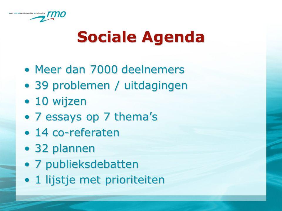 Sociale Agenda •Meer dan 7000 deelnemers •39 problemen / uitdagingen •10 wijzen •7 essays op 7 thema's •14 co-referaten •32 plannen •7 publieksdebatten •1 lijstje met prioriteiten