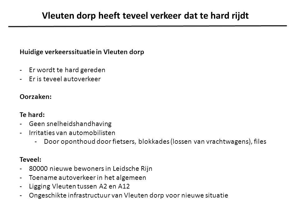 Heroverweging = herziening verkeersplan in en rond Vleuten Tijdsplan: -Januari 2011: overleg met WBO's -April 2011: verwachte uitkomst analyse gemeente.