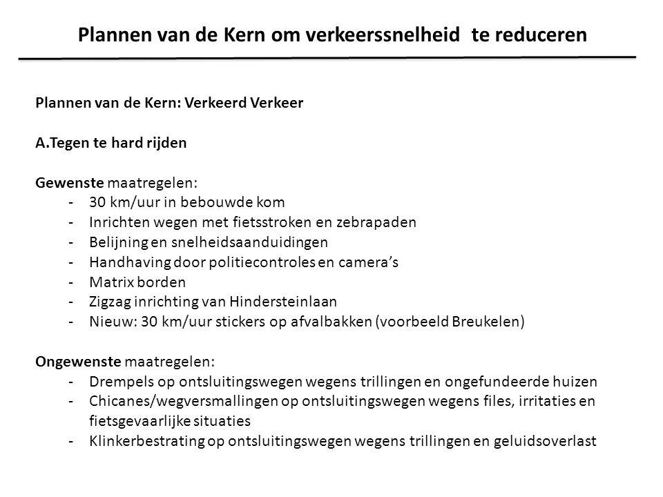 Plannen van de Kern: Verkeerd Verkeer A.Tegen te hard rijden Gewenste maatregelen: -30 km/uur in bebouwde kom -Inrichten wegen met fietsstroken en zeb