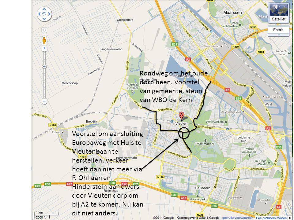 Rondweg om het oude dorp heen. Voorstel van gemeente, steun van WBO de Kern Voorstel om aansluiting Europaweg met Huis te Vleutenbaan te herstellen. V