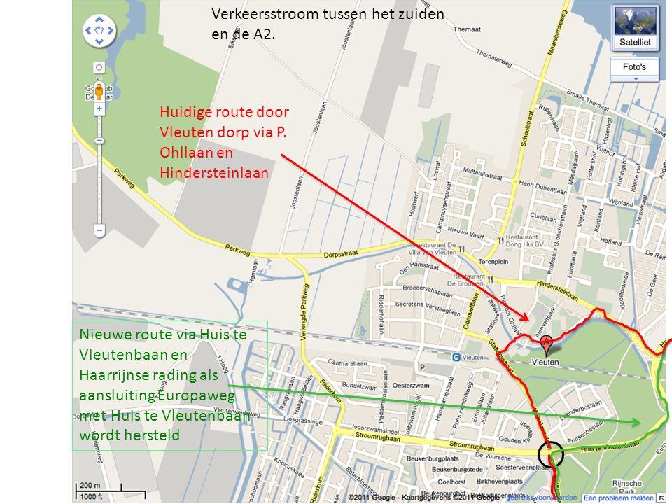 Huidige route door Vleuten dorp via P. Ohllaan en Hindersteinlaan Nieuwe route via Huis te Vleutenbaan en Haarrijnse rading als aansluiting Europaweg