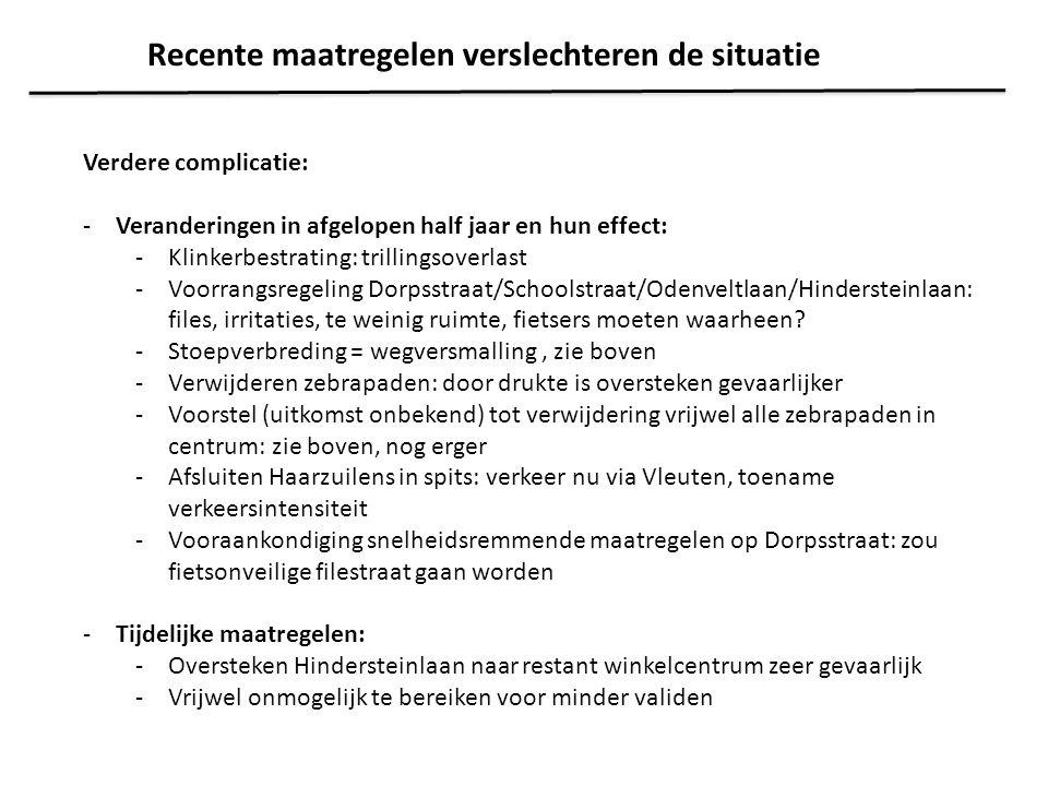 Verdere complicatie: -Veranderingen in afgelopen half jaar en hun effect: -Klinkerbestrating: trillingsoverlast -Voorrangsregeling Dorpsstraat/Schools