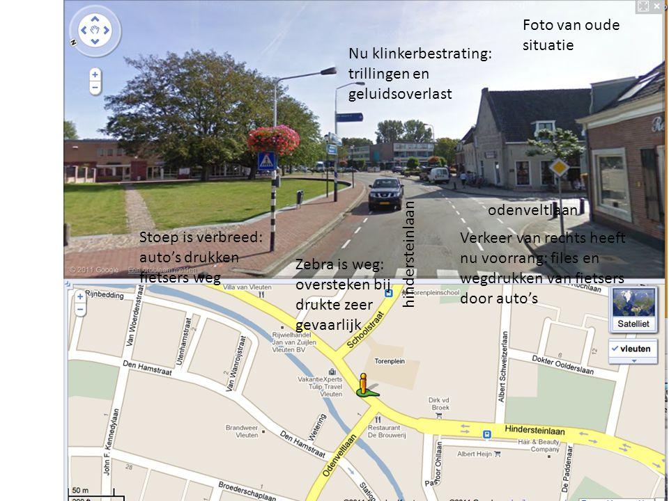 odenveltlaan hindersteinlaan Verkeer van rechts heeft nu voorrang: files en wegdrukken van fietsers door auto's Foto van oude situatie Zebra is weg: o