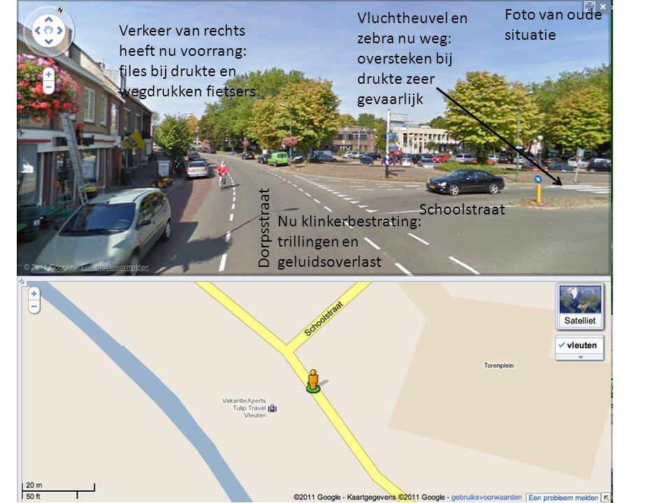 Foto van oude situatie Schoolstraat Dorpsstraat Vluchtheuvel en zebra nu weg: oversteken bij drukte zeer gevaarlijk Verkeer van rechts heeft nu voorra