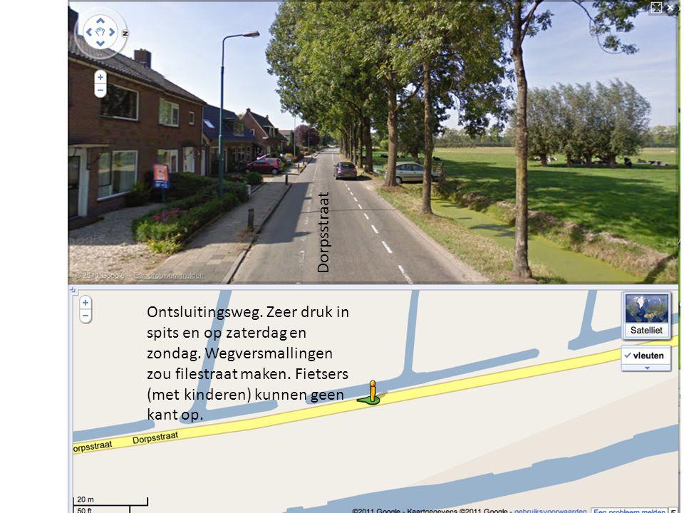 Dorpsstraat Ontsluitingsweg. Zeer druk in spits en op zaterdag en zondag. Wegversmallingen zou filestraat maken. Fietsers (met kinderen) kunnen geen k