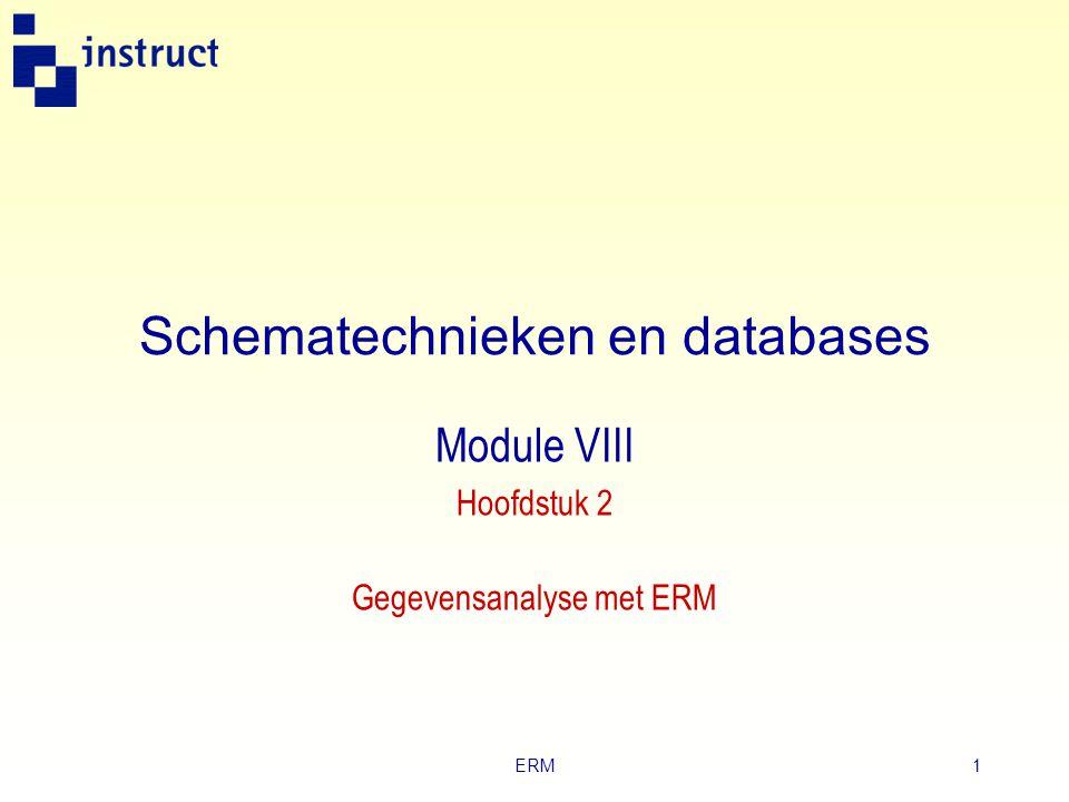 ERM11 ERD  Samenhang tussen entiteiten geef je schematisch weer in een Entity Relationschip Diagram: ERD.