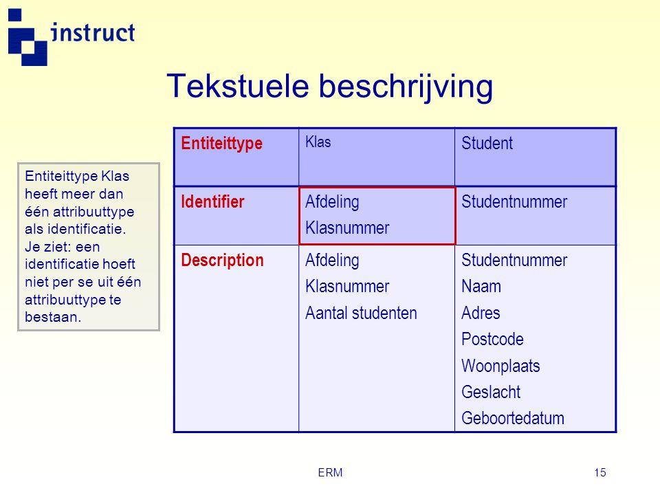 ERM14 Tekstuele beschrijving  Met deze beschrijving van het informatiemodel geef je aan: ‣ welke attribuuttypen de i dentificerende attribuuttypen zi