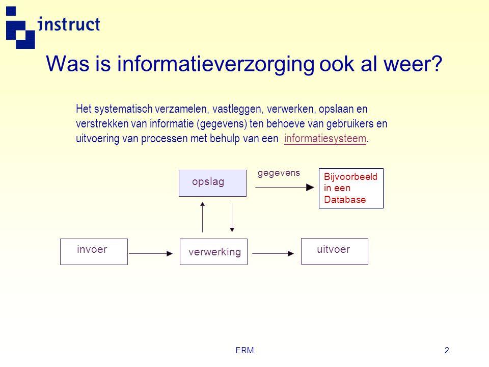 ERM1 Schematechnieken en databases Module VIII Hoofdstuk 2 Gegevensanalyse met ERM