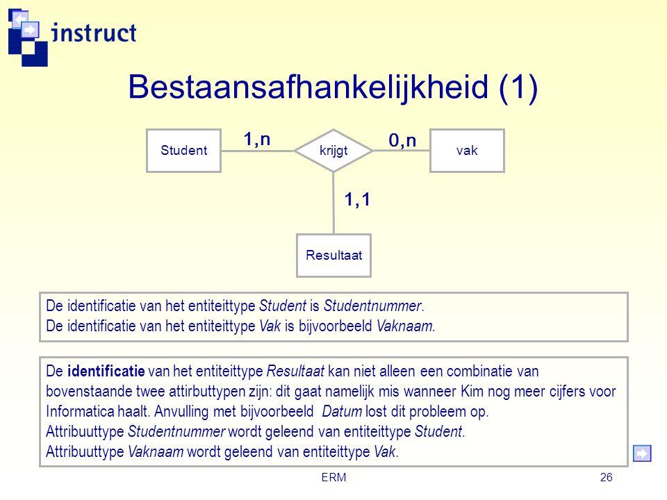ERM25 Ternair relatietype Studentkrijgt vak 1,n 0,n Resultaat 1,1 Student Kim haalt voor het vak Informatica het cijfer 8. Het cijfer 8 is geen eigens