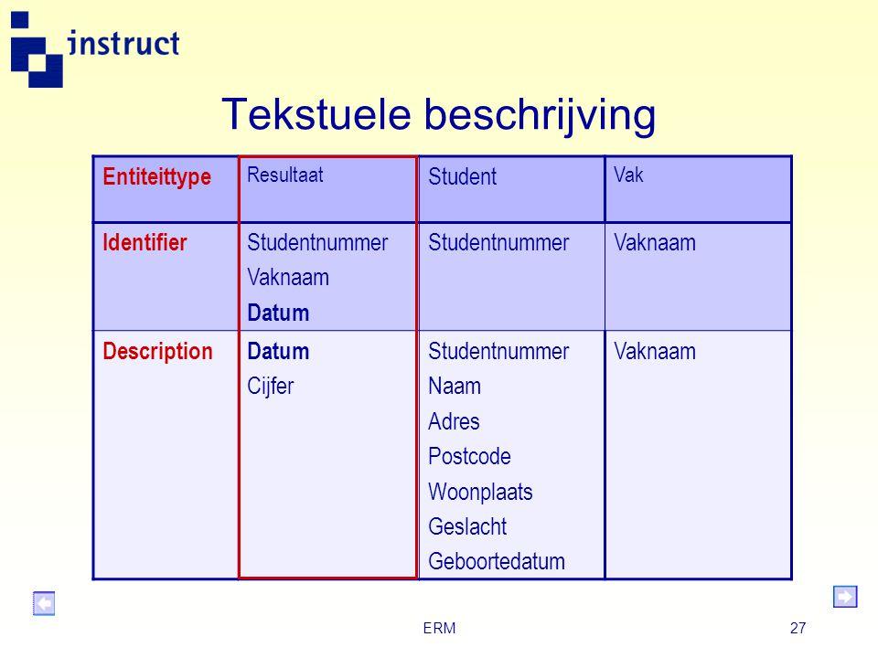 ERM26 Bestaansafhankelijkheid (1) De identificatie van het entiteittype Student is Studentnummer. De identificatie van het entiteittype Vak is bijvoor