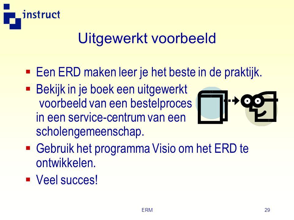 ERM28 Bestaansafhankelijkheid (2) Studentnummer en Vaknaam zijn geen eigenschappen van het entiteittype Resultaat. Attribuuttype Studentnummer wordt g