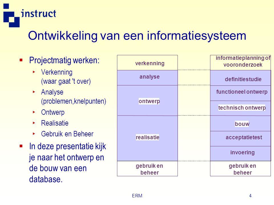 ERM4 Ontwikkeling van een informatiesysteem  Projectmatig werken: ‣ Verkenning (waar gaat t over) ‣ Analyse (problemen,knelpunten) ‣ Ontwerp ‣ Realisatie ‣ Gebruik en Beheer  In deze presentatie kijk je naar het ontwerp en de bouw van een database.