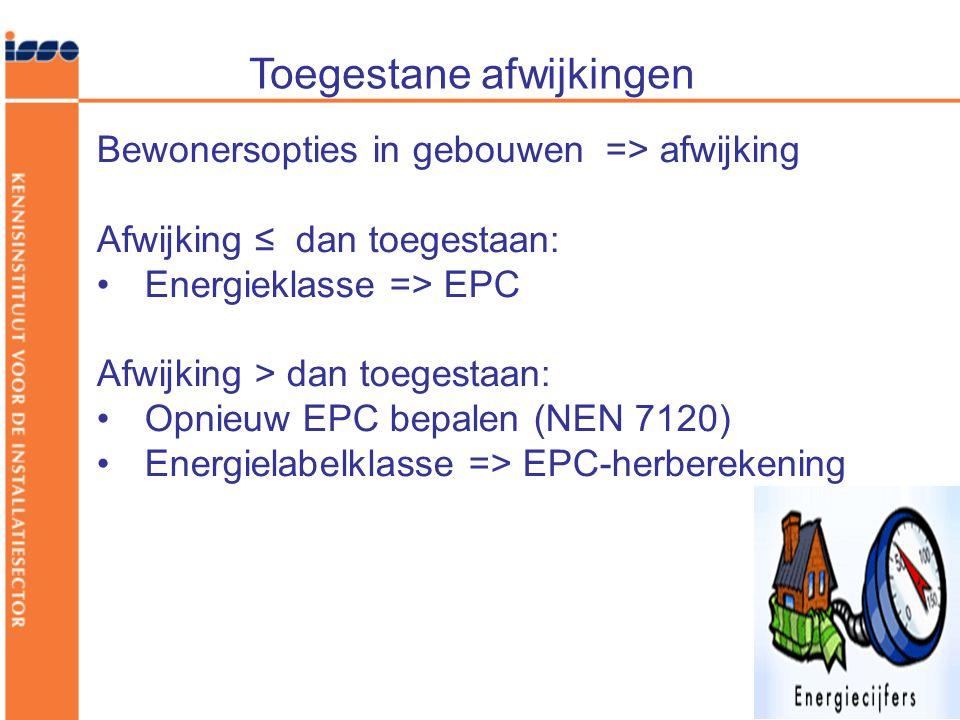 Toegestane afwijkingen Bewonersopties in gebouwen => afwijking Afwijking ≤ dan toegestaan: •Energieklasse => EPC Afwijking > dan toegestaan: •Opnieuw EPC bepalen (NEN 7120) •Energielabelklasse => EPC-herberekening