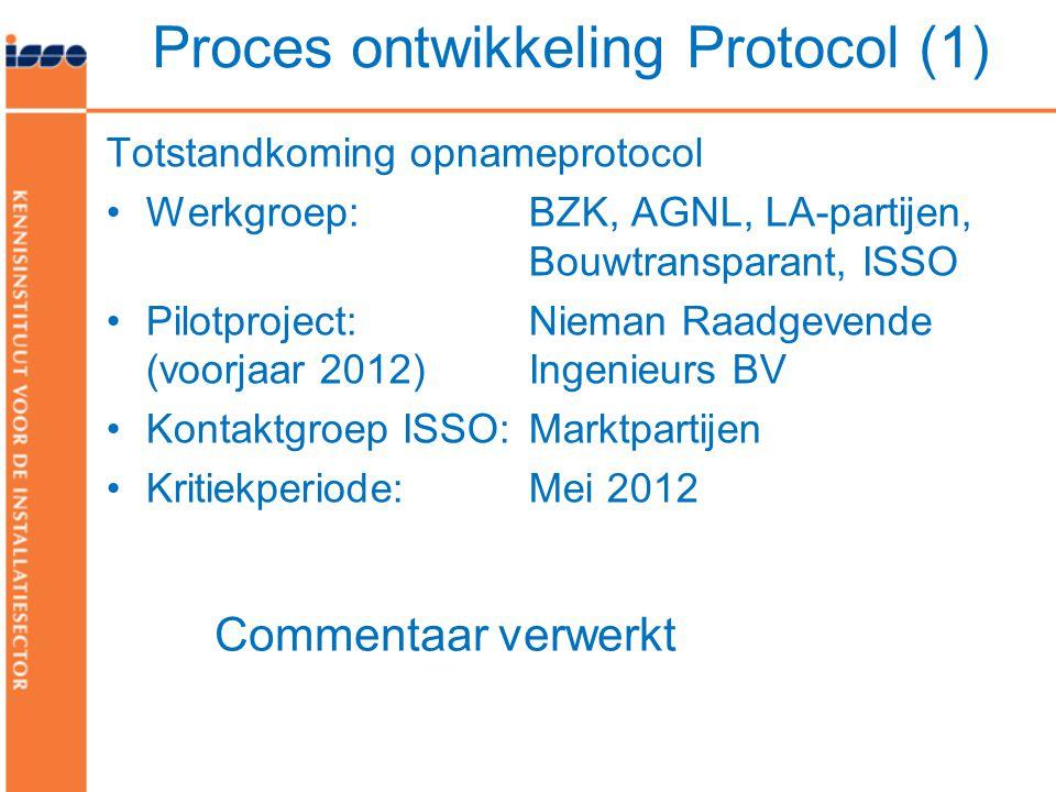 Totstandkoming opnameprotocol •Werkgroep: BZK, AGNL, LA-partijen, Bouwtransparant, ISSO •Pilotproject: Nieman Raadgevende (voorjaar 2012) Ingenieurs B