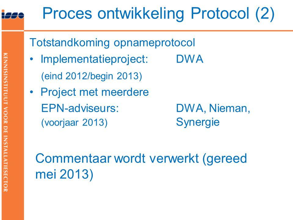 Totstandkoming opnameprotocol •Implementatieproject: DWA (eind 2012/begin 2013) •Project met meerdere EPN-adviseurs: DWA, Nieman, (voorjaar 2013) Synergie Proces ontwikkeling Protocol (2) Commentaar wordt verwerkt (gereed mei 2013)
