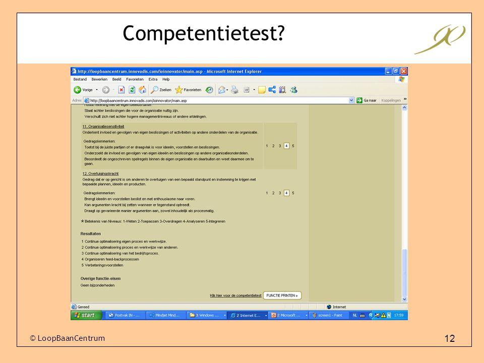 12 © LoopBaanCentrum Competentietest?